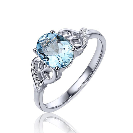 Oval Cut 1.15 ct Natural Aquamarine 14k White Gold  Ring