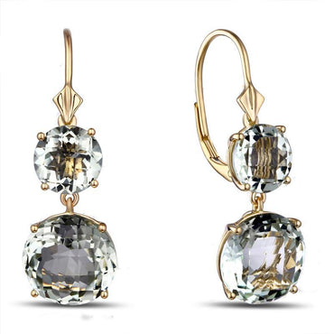 14K Gold 12.85ct Natural Green Amethyst Earrings