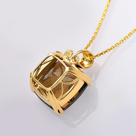 20.68ct Natural Smoky Quartz 14K Yellow Gold Pendant