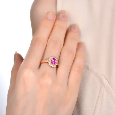 18k Gold 1.02ct Natural Pink Sapphire Ring