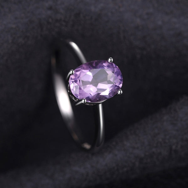 Oval 1.1ct Natural Purple Amethyst  Solitaire Ring Solid 925 Sterling Silver