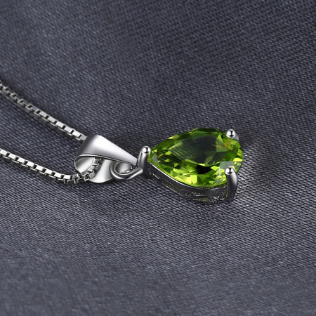 Water Drop 1.9ct Natural Peridot Pendant 925 Sterling Silver