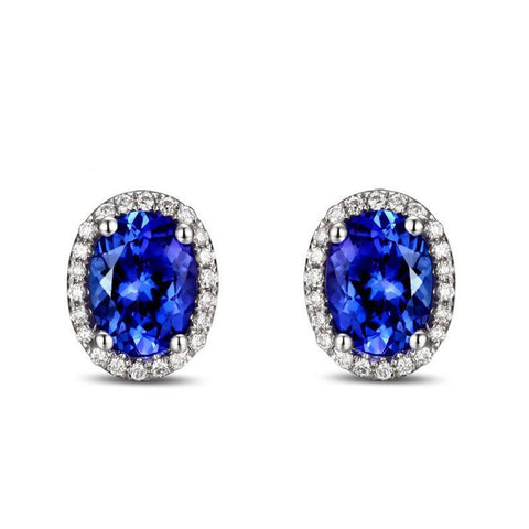 14k White Gold Natural 2.71ct  Violetish Blue Tanzanite Earrings Stud