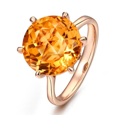 14K Rose Gold Natural 6.75 cts Citrine Ring