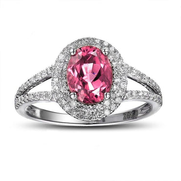 14K White Gold Natural 1.3ct Pink Tourmaline Ring