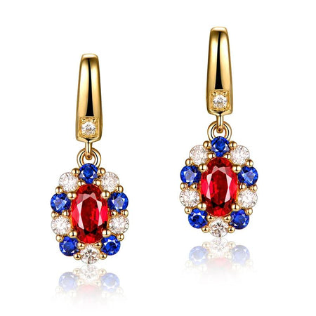 0.72ct Ruby Earrings with Sapphire and Diamonds 14k Yellow Gold