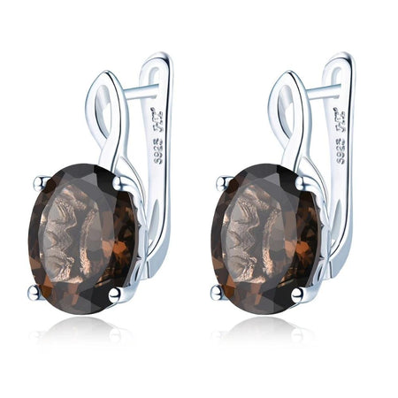 Natural Smoky Quartz Clip Earrings Solid 925 Sterling Silver