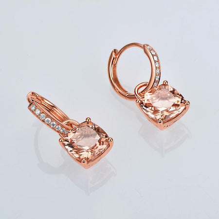 4.31Ct Natural Cushion Morganite 14K Rose Gold Drop Dangle Earrings Gemstone Earring