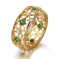 14kt Yellow Gold 0.37ct Natural Emerald and Diamond Wedding Ring for Men