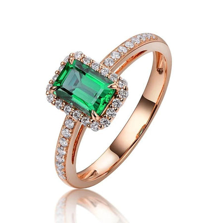 14k Rose Gold 0.74ct Natural  Emerald Ring
