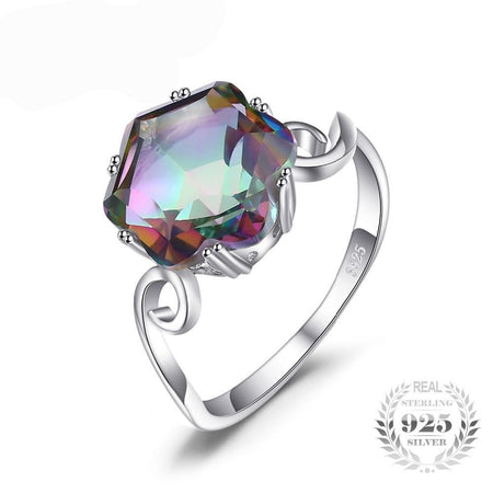 3.2ct Natural Rainbow Fire Mystic Topaz Ring Solid 925 Sterling Silver Ring