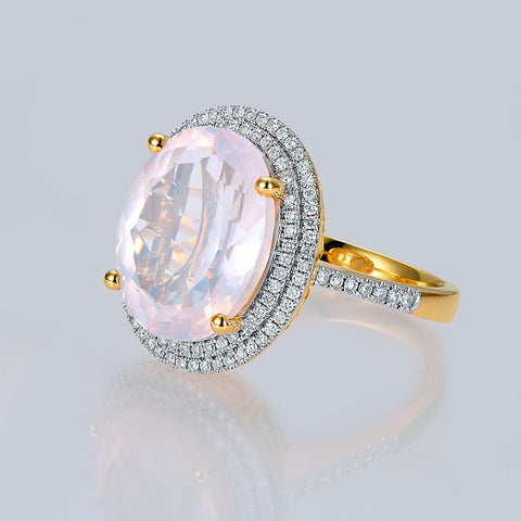 8.51ct Natural Oval Pink Quartz 14k Multi-tone Gold Ring
