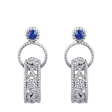 Vintage Natural 0.095ct  Blue Sapphire Earrings