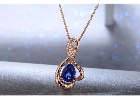 Natural 1.64ct Pear Cut Tanzanite 14k Rose Gold Pendant