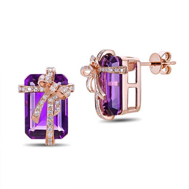 8.7ct Natural Amethyst 14kt Rose Gold Earrings