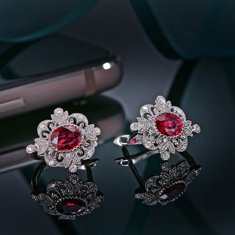 Natural 0.93ct Ruby Earrings 14K White Gold
