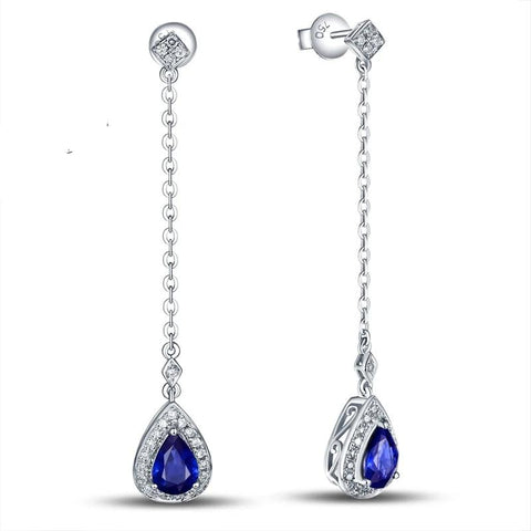 14K Gold Natural 1.09ct Sapphires & 0.24ct Natural Diamonds Earrings