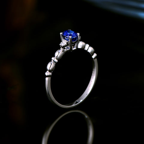 Natural 0.55ct Blue Sapphire 14k White Gold Ring