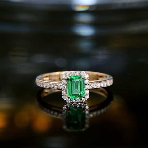14k Yellow Gold 0.55ct Natural Emerald Ring