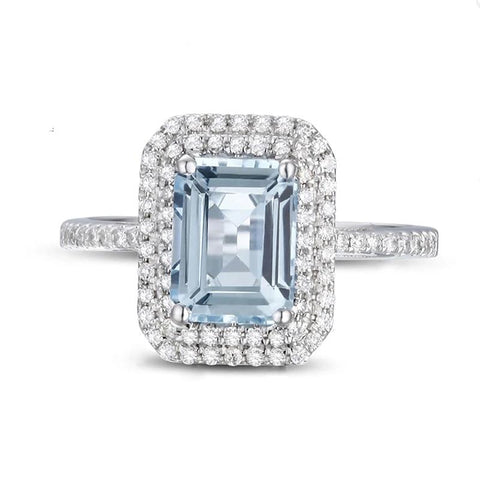 Natural Emerald Cut 1.72ct Aquamarine 14k White Gold Ring