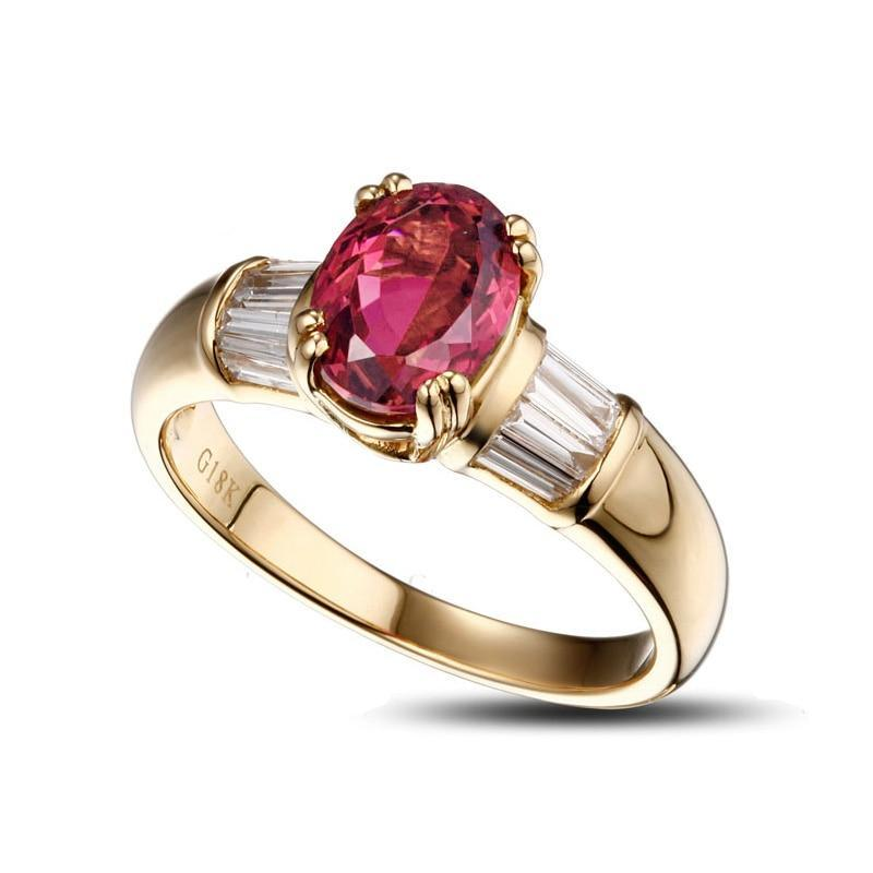Natural 1.45ct Tourmaline 14K Yellow Gold Ring