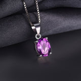 Natural 1.7ct  Oval Cut Amethyst Pendant Solid 925 Sterling Silver