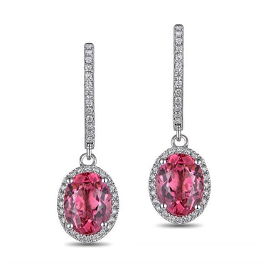 18KT White Gold Oval Cut 2.55ct Natural Pink Tourmaline Earrings