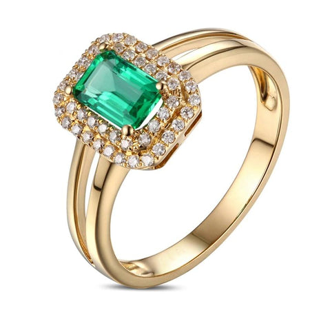 0.6ct Natural Emerald 14k Yellow Gold Ring