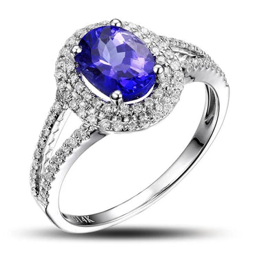 14K White Gold Natural 1.17ct Tanzanite Ring
