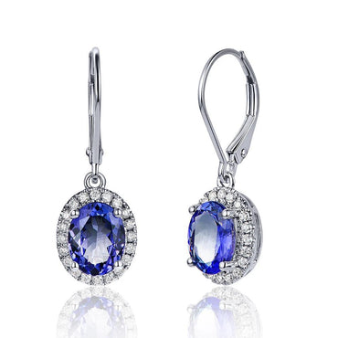 14K White Gold Natural 2.59ct Tanzanite Earrings
