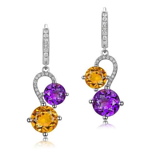 5.52ct Natural Amethyst and Citrine Drop Earrings