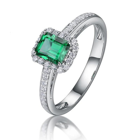 0.6ct Natural Emerald Ring in 14k White Gold