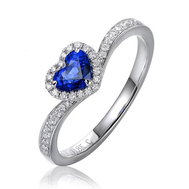 0.52ct Natural Heart Shape Blue Sapphire 14kt White Gold Ring