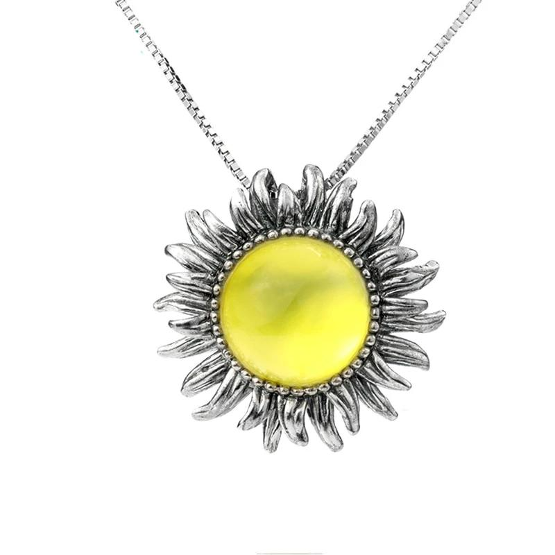 Natural Yellow Prehnite Silver Pendant Flower design