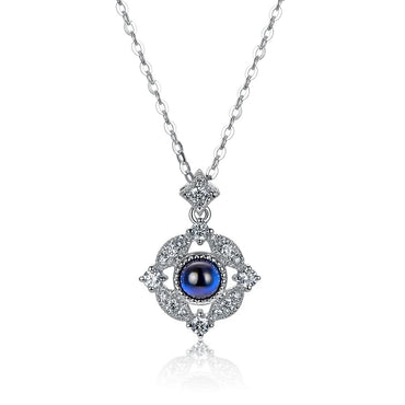 Natural Cabochon Cut Blue Sapphire  Pendant 14kt White Gold
