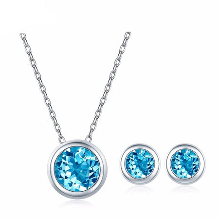 Natural Blue Topaz Pendant and  Earrings Solid 925 Sterling Silver
