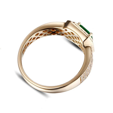 14k Yellow Gold Natural Emerald Men's Ring