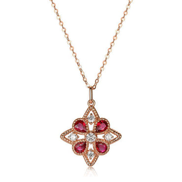 Natural 0.83ct Ruby 14k Rose Gold Pendant