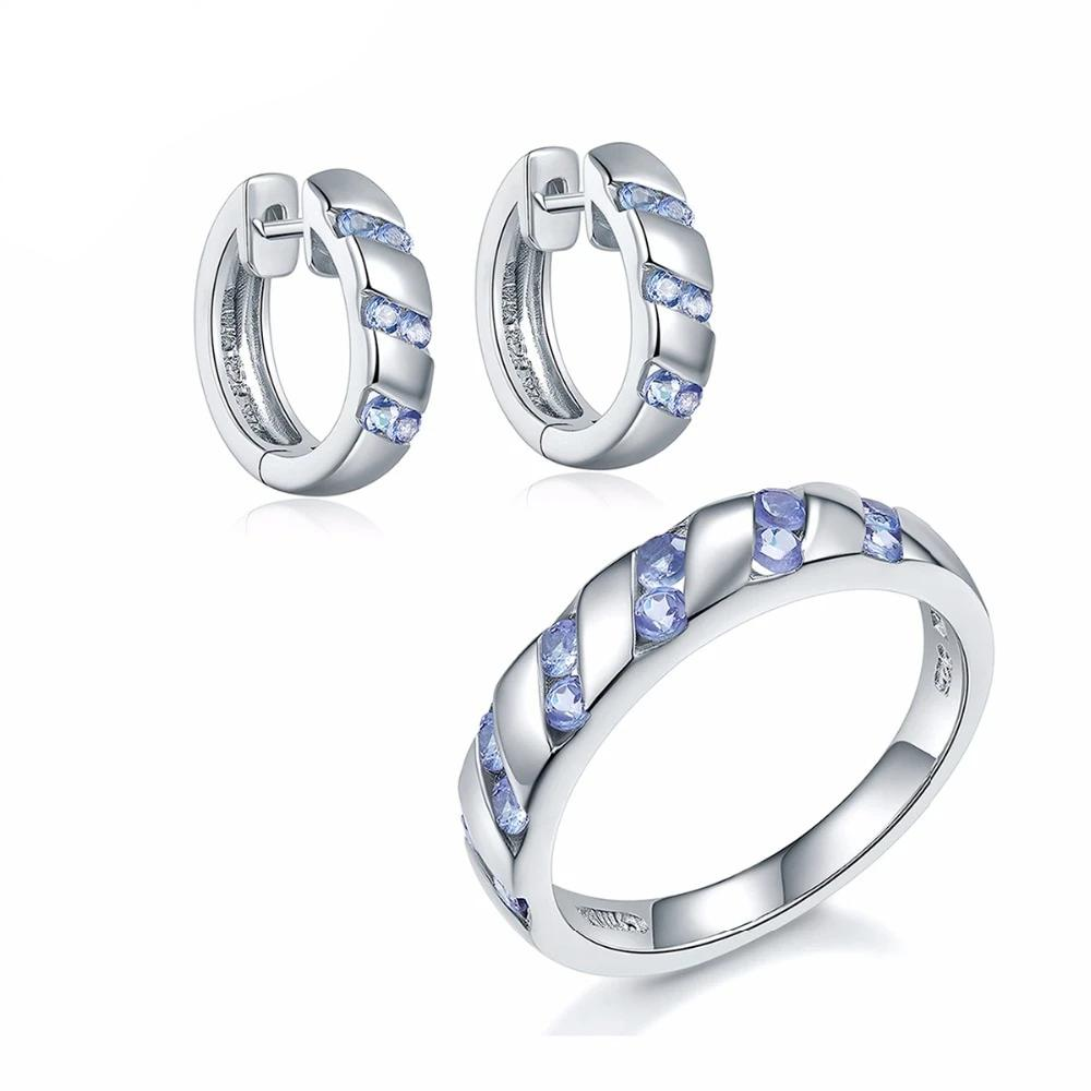Natural Tanzanite Solid 925 Sterling Silver Earrings and Ring