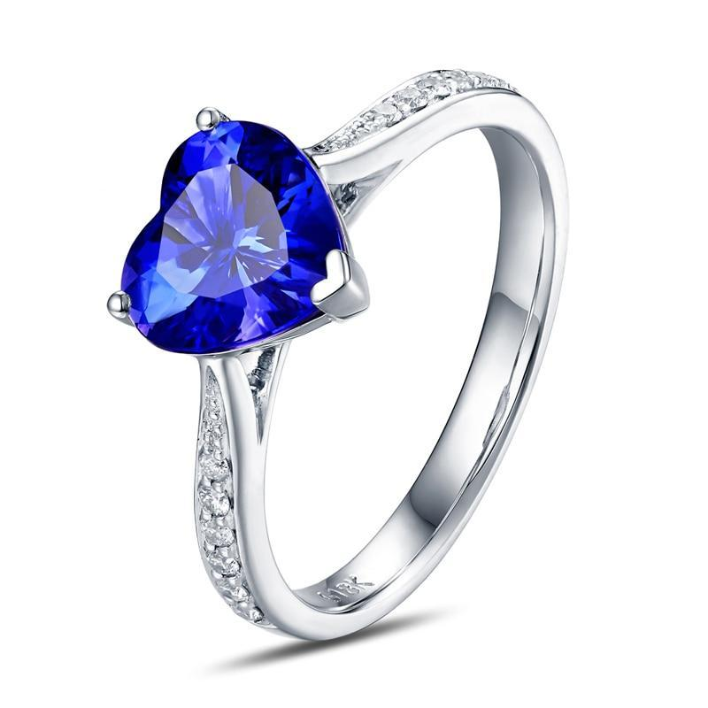 14K White Gold Heart Cut 1.50 ct Natural Tanzanite Ring
