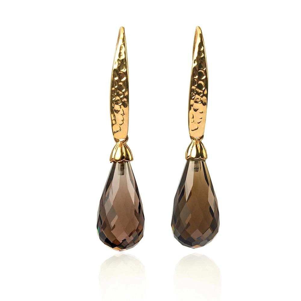 Natural Smoky Quartz Silver Drop Earrings