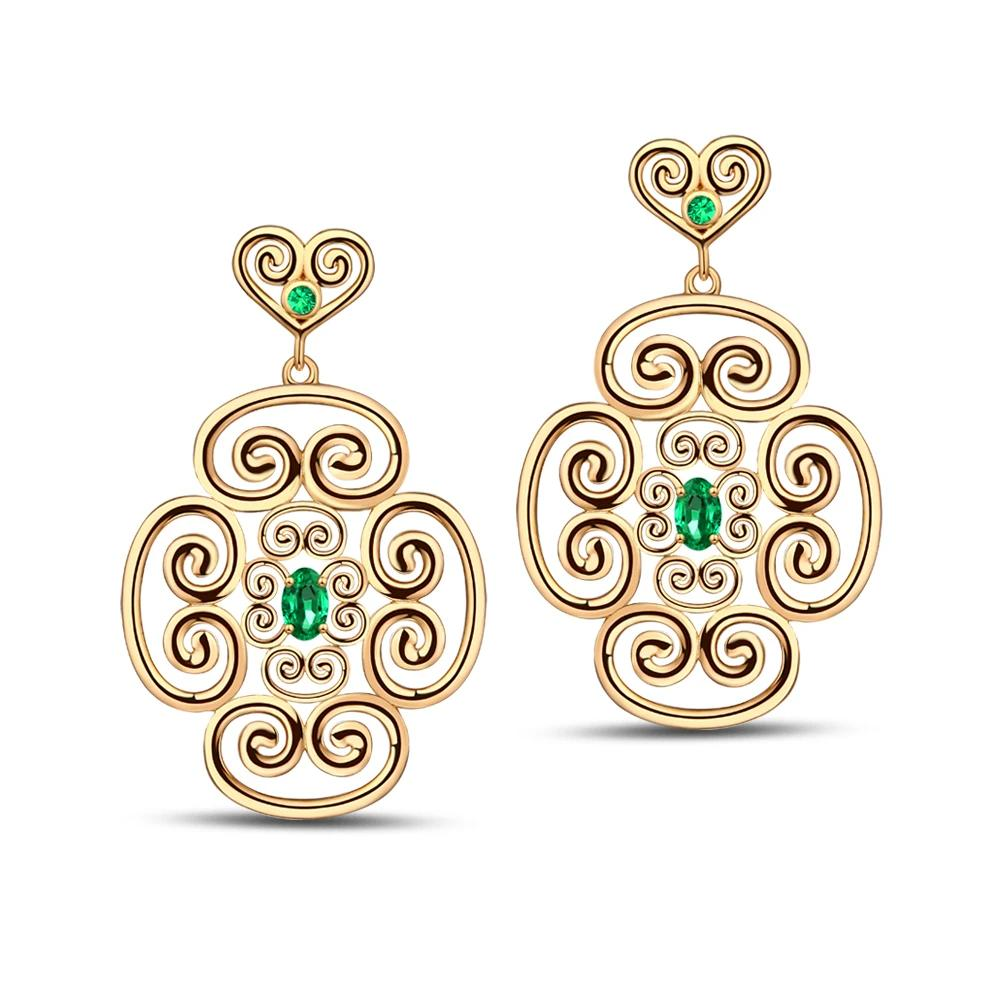 Unplated 14K Yellow Gold 0.55ct Natural Emerald  Earrings