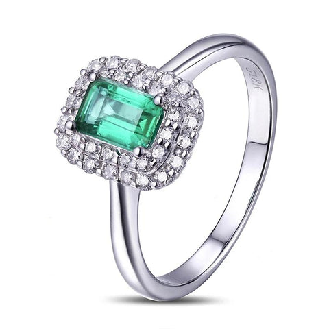 14kt White Gold 0.71ct Natural Emerald Ring