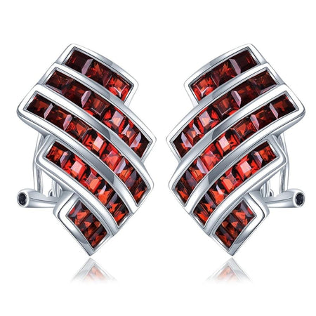 6.76ct Natual Garnet Clip Earrings 925 Silver