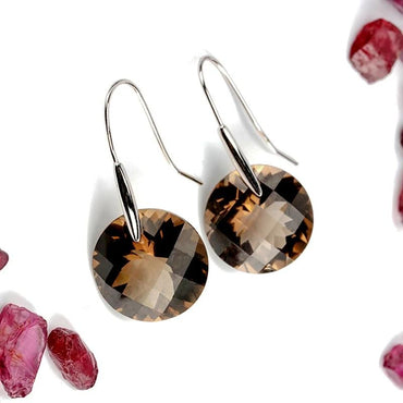 MELE Natural rainbow quarts silver earring, big round 18mm*18mm,   Smoky Quartz. speical design, beautiful outlooking for women