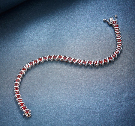 9.45Ct Natural Garnet Solid 925 Sterling Silver Bracelet
