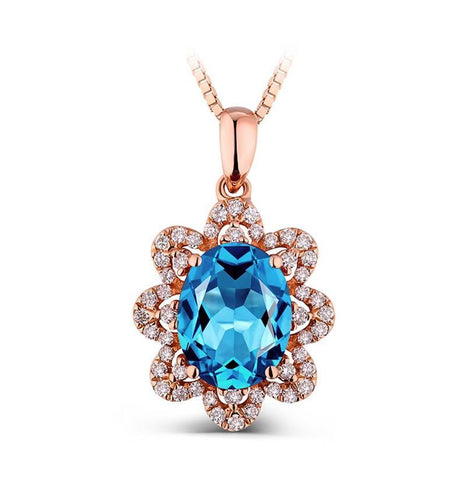 14k Rose Gold Natural Oval Cut Blue Topaz Pendant