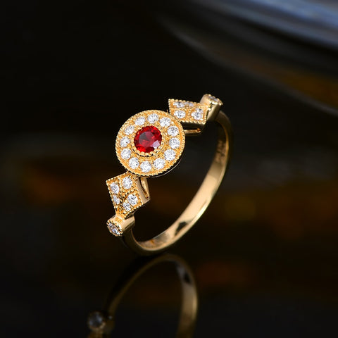 Vintage Design Natural R0.17 ct Ruby 18kT Yellow Gold Ring