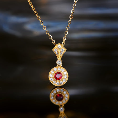 Vintage 18kT Yellow Gold Natural 0.18 ct Ruby Pendant