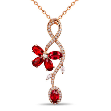 14k Rose Gold Natural 1.65ct Ruby Pendant
